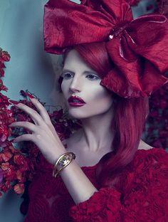 """Le Bal des Vampires"" Vamp Red Looks  Factice Magazine February 2012  Photographer: Vijat Mohindra  Styling: Jacqueline Rezak  Models: Marine De Vachon & Josephine Chapman"