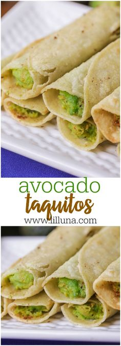 "Avocado Taquitos aka ""Flautas"" - these corn tortillas are filled with avocados and cheese and fried to perfection! (Vegan Recipes Mexican)"