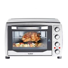 VonShef Mini Oven, Grill & Rotisserie with Double Hot Plates – Large Oven, Stainless Steel – Includes Baking Tray & Wire Rack - Uk Appliances Direct Small Electric Oven, Indoor Electric Grill, Electric Grills, Portable Charcoal Grill, Best Charcoal Grill, Toaster Oven Cooking, Toaster Ovens, Oven And Hob, Rotisserie Grill
