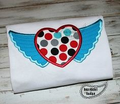 Heart Wings Applique - 4 Sizes! | Angels | Machine Embroidery Designs | SWAKembroidery.com