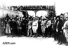 The Red Army (with their armored train) entered Baku on April 27, 1920, demanding the resignation of the Azerbaijan Democratic Republic (ADR) Parliament and effectively ending Azerbaijan's control over its own oil resources. Most of the Oil Barons fled to Iran, Turkey or Europe. Photo: Azerbaijan National Archives.