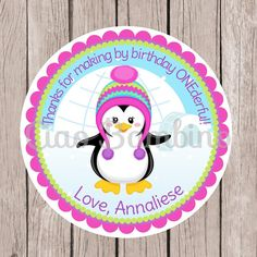 Set of 12 / Penguin Birthday Party Favor Tags or Stickers / Pink and Purple - 0013 / Winter ONEderland Party / Winter Wonderland
