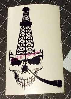 Skull Oil Rig/Derrick With Bit Window Decal Oilfield Trash, Oilfield Wife, Drawings For Boyfriend, Refined Oil, Drilling Rig, Camo Colors, Love Boat, Oil Rig, Window Decals