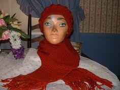 New Crocheted Rust Colored  Women Accessorie Scarf & Benie Hat Set NEW Handmade  #Handmade #LongScarfHatBenie