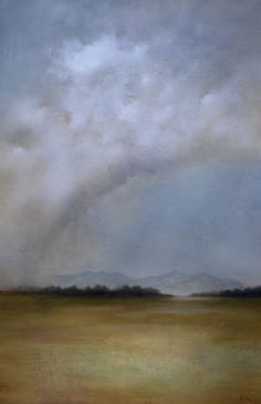 """Jim Seitz, """"Sanctuary in the Rain,"""" oil and gold leaf on canvas, 60 x 40"""