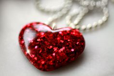 Jewelry, Pretty Necklace - Sparkly Red Glitter Heart - gift idea for her mom wife girl - Modern Design, Handcast Resin Jewellery by isewcute via Etsy