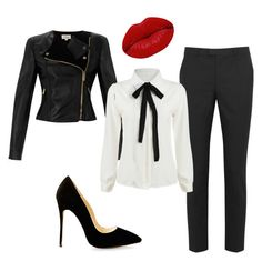 """Black leather jacket for work"" by thisisthelife4 on Polyvore featuring Temperley London, RED Valentino and Winky Lux"