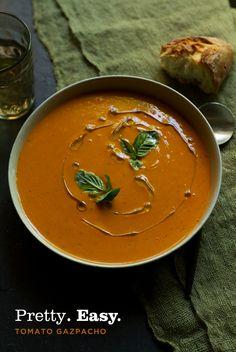 Pretty Easy Tomato Gazpacho Soup via Pairs Well With Food // Aida Mollenkamp #recipe #meatless #vegetarian