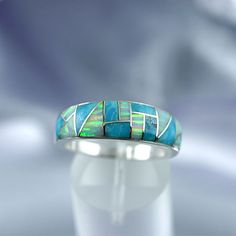 NATIVE AMERICAN JEWELRY, Turquoise & Opal Inlay Ring