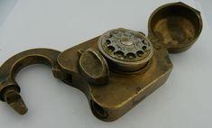 ANTIQUE BRASS CLARKE COMBINATION LOCK PATENTED DATE: FEB 20,1876 ** U.S. TREASURY **