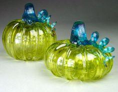Hand Blown Glass Pumpkin Olive Sparkle Pair