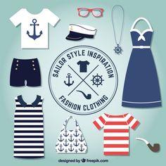 Abbigliamento di moda in stile marinaio Vettore gratuito