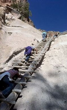 Bandelier Natl Monument, New Mexico.  It was an exhilarating 140' ladder climb to the top, where Ancestral Pueblo people lived in caves over 10,000 yrs ago.