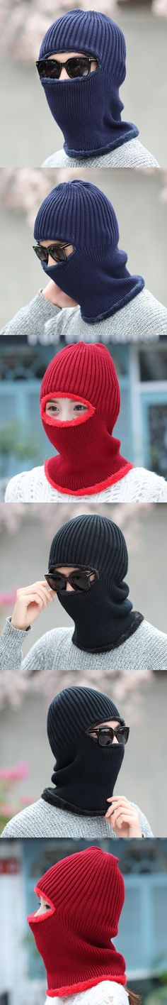 Winter Hat for Women Men Thick Knitted Beanie New Arrival Ear Hat Outdoor Velvet Wrap Collar Solid Color Striped Design Fashion
