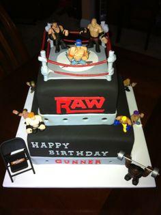 Wrestling Cake Wrestling Birthday Cakes, Wrestling Cake, Wrestling Party, Wwe Cake, Wwe Party, Boy Birthday Parties, 5th Birthday, Birthday Ideas, Cakes For Boys