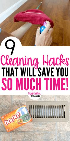 9 Cleaning Hacks That Will Save You Tons Of Time - Organization Obsessed Keep your home clean and organized with these 9 cleaning hacks! These hacks make cleaning so much easier! Diy Home Cleaning, Household Cleaning Tips, Deep Cleaning Tips, Bathroom Cleaning, House Cleaning Tips, Natural Cleaning Products, Cleaning Solutions, Cleaning Hacks, Hacks Diy