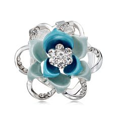 Shop for Flower Silk Scarf Clip Brooches, OKA Jewelry Rhinestone Flower Brooch Dual Use Silver is in your choice of white and blue colors. Rhinestone Jewelry, Silver Flowers, Diy Accessories, Flower Brooch, Sapphire, Engagement Rings, Silk, Beads, Office Wear