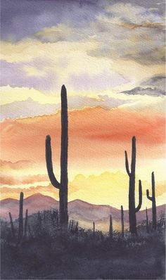 Arizona Sunset by ArtsbyMaureen on Etsy Arizona Sunset by ArtsbyM. Arizona Sunset b Art Inspo, Kunst Inspo, Painting Inspiration, Bedroom Inspiration, Watercolor Sunset, Watercolor Trees, Tattoo Watercolor, Abstract Watercolor, Watercolor Animals