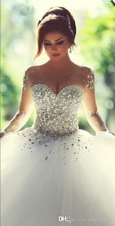 Wholesale 2015 Long Sleeve Wedding Dresses with Rhinestones Crystals Backless Ball Gown Wedding Dress Vintage Bridal Gowns Spring Quinceanera Dresses, $324.61/Piece | DHgate Mobile