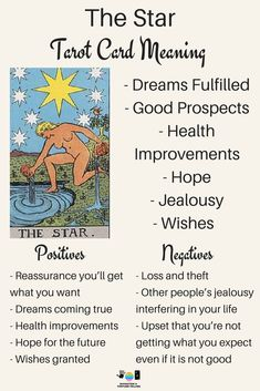 The Star Tarot card meaning. An illustration from the Major Arcana with the Rider Waite Tarot deck. Post by divination and fortune-telling with Tarot for love, romance and relationships. Ideal for readers who are just learning the interpretations. The Star Tarot Meaning, What Are Tarot Cards, Tarot Significado, Tarot Cards For Beginners, Tarot Card Spreads, Tarot Astrology, Tarot Major Arcana, Major Arcana Cards, Tarot Decks