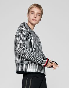 3e2ce63561ce1 Women's Knitwear | Shop Prince of Wales Jacquard Jumper in black and white  from ME+EM