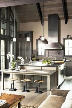Contemporary Kitchen with Kitchen island, Stone Source Basaltina Honed Basalt, Kitchencraft chelsea cabinetry, Farmhouse sink