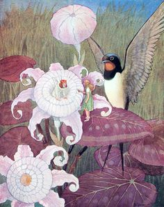 """Thumbelina. From """"Andersen's Fairy Tales"""" illustrated by Artuš Scheiner (1934)"""