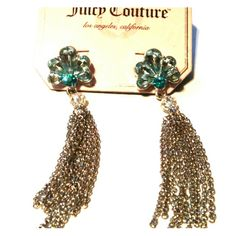 Juucy Couture Blue Stone Shell Earrings New juicy couture earrings . Silver tone with light blue gems . Juicy Couture Jewelry Earrings