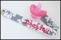 Personalized Pacifier Clip Set- Grey Damask and Hot pink- YOU CHOOSE 1 Pacifiers- Snap or Universal Pacifier Clip Set- Gray and Hot Pink
