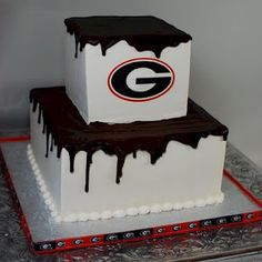 Cup a Dee Cakes Blog: UGA Chocolate Drizzle Groom's Cake