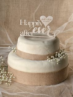 Rustic Cake Topper Wood Cake Topper Happily by forlovepolkadots