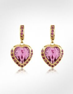 AZ Collection's darling gold-plated drop earrings feature dazzling pink SWAROVSKI ELEMENTS in a dainty heart shape surrounded by smaller plum-hued sparklers. Pink Jewelry, Heart Jewelry, Jewelery, Buy Earrings, Pink Earrings, Nickel Free Earrings, Heart Shaped Earrings, Designer Earrings, Beautiful Earrings