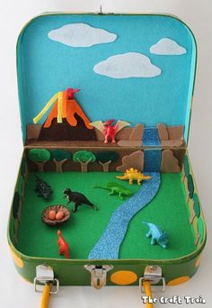 Dinosaur small world in a suitcase dinosaur crafts kids, dino craft, dinosa Kids Crafts, Projects For Kids, Diy For Kids, Fall Projects, Shoebox Crafts, Cool Gifts For Kids, Preschool Crafts, Dinosaur Activities, Toddler Activities