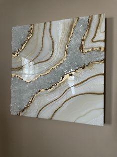 Resin Wall Art, Diy Resin Art, Resin Artwork, Diy Resin Crafts, Golden Goddess, Diy Crystals, Marble Art, Unique Wall Art, Diy Canvas Art