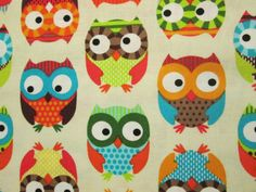 OWLS FLOWERS TULIPS COLORED OWL WHITE COTTON FABRIC FQ