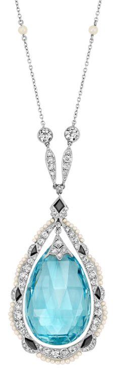 Edwardian aquamarine, diamond, pearl, and onyx necklace!