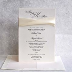 Wedding Invitations Two layers Coral and  Quartz Ivory Ribbon.