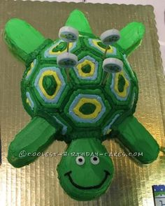Coolest Turtle Birthday Cake... This website is the Pinterest of homemade birthday cakes