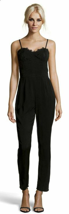 All Black Jumpsuit - an elegant look for a chilly night, or for a night when you want more coverage than a dress!