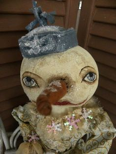 VERY Primitive One of a Kind Collectible Snowman by mustardseed