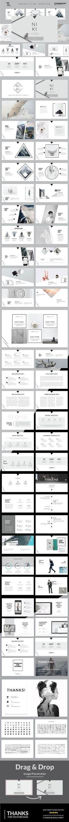 Niki Multipurpose Powerpoint Template - Niki has a professional, ultra-modern and unique design, where each slide is created with love and attention to detail. Niki is a multipurpose Powerpoint template that can be used for any type of presentation Design Visual, Graphisches Design, Slide Design, Layout Design, Graphic Design, Design Presentation, Presentation Templates, Business Presentation, Presentation Folder