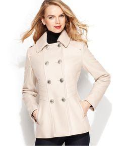 Nine West Coat, Double Breasted Waist Detail Wool Blend Pea Coat ...