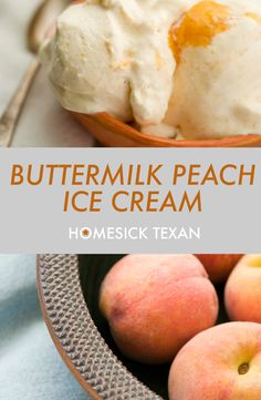 Buttermilk peach ice cream on a summer morning Peach Ice Cream Recipe, Buttermilk Ice Cream, Sorbet Ice Cream, Peach Homemade Ice Cream, Ice Cream Toppings, Ice Cream Desserts, Frozen Desserts, Frozen Treats, Cold Desserts
