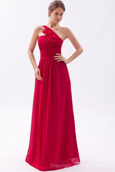 One Red Zipper Classic Chiffon Sleeveless Shoulder Natural Draped/Ruched A-line Floor-length Evening Dress