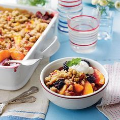 Blackberry-Peach Cobbler with Praline-Pecan Streusel Recipe Take one bite of this cobbler and you'll know it's summer!  Love it!!