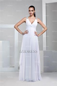 A-Line/Princess Straps V-neck Floor-length Chiffon Prom Dress - IZIDRESSES.com at IZIDRESSES.com