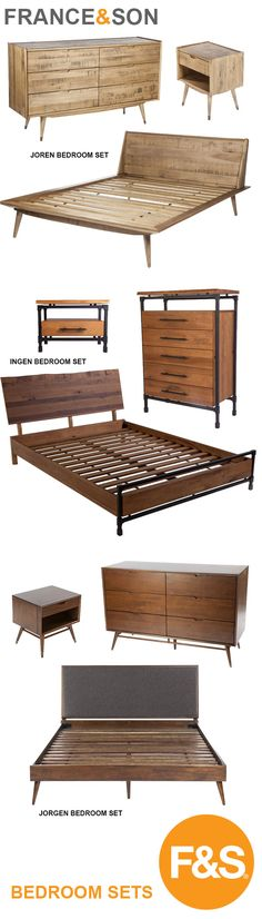A collection of Mid-Century Modern bedroom sets by France and Son.