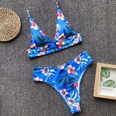 d991da6be8 Blue Two-Piece High Waist Bikini High Wasted Bikini