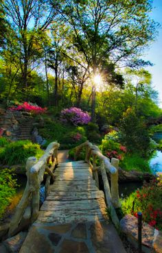 Rustic footbridge to azalea garden at the Old Mill in North Little Rock, Arkansas, USA (by Garden Paths, Garden Bridge, Garden Landscaping, Garden Pond, Beautiful World, Beautiful Gardens, Beautiful Places, Beautiful Gorgeous, Amazing Places