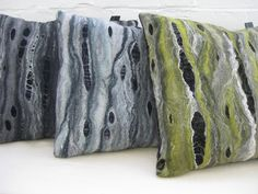 seascape cushions Silversoles - Felted Textiles by Emma Jackson - Crafts Council Felt Cushion, Felt Pillow, Nuno Felting, Needle Felting, Diy Pillows, Cushions, Felt Leaves, Art Textile, Pillows